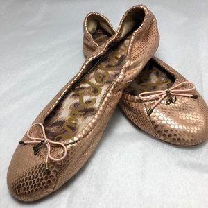Sam Edelman Gold Snakeskin Ballet Flat 9